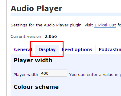Audio Player WordPress plugin(1 Pixel Out)の設定 2