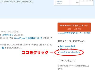 WordPress 2.8.1-beta1のダウンロード場所