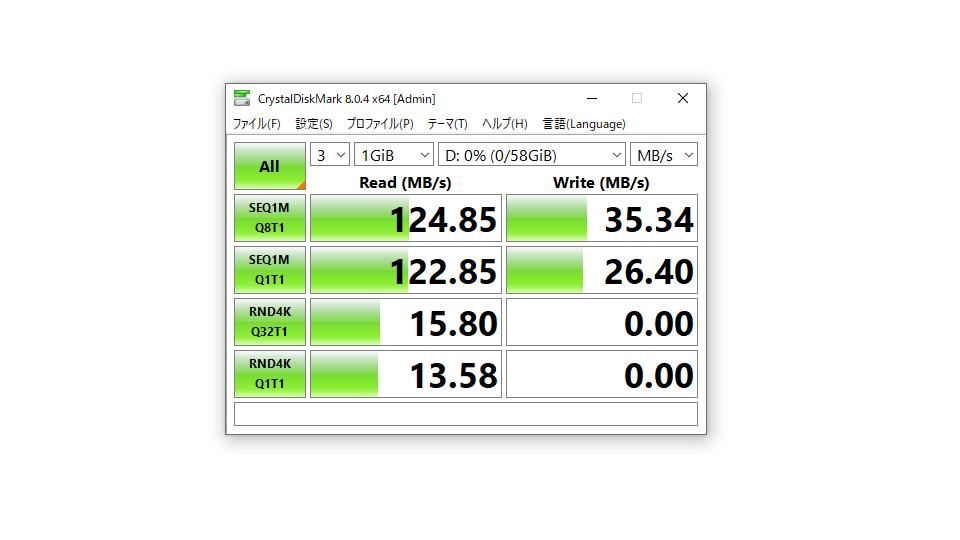 Verbatim バーベイタム USBSPS64GGV1 ベンチマーク結果